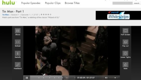 hulu.com screenshot video player